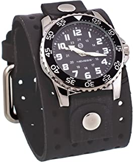 Nemesis #FLH227K Men's Super Night Glow Faded Black Wide Leather Cuff Band Watch
