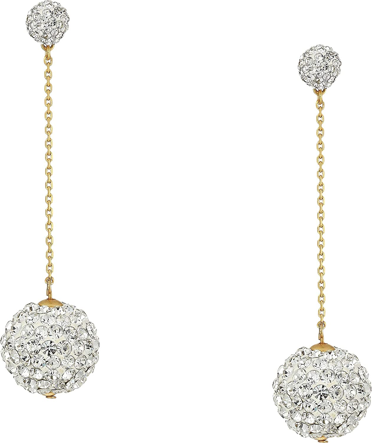 Kate Spade New York Razzle Dazzle Linear Earrings Clear/Worn Gold One Size
