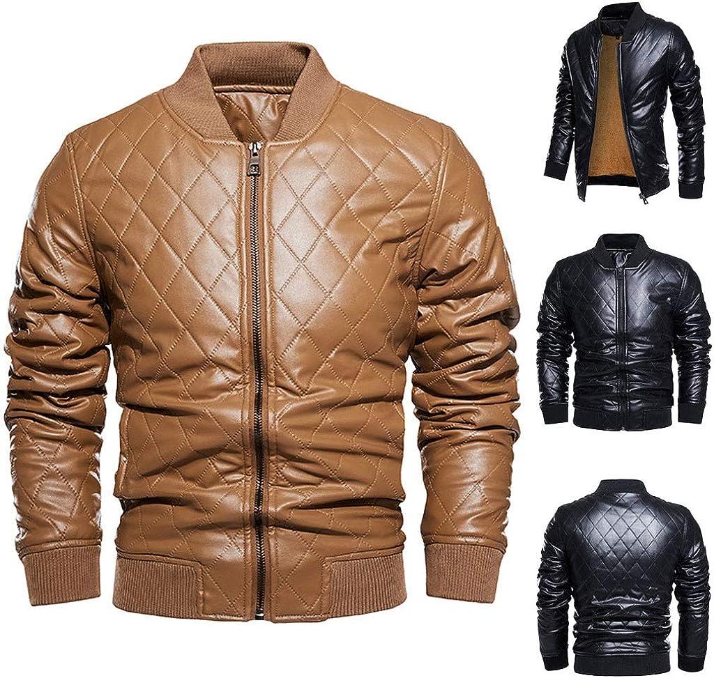 Men Leather Jackets,Vintage Classic Leather Zip Up Biker Bomber Jacket V1768