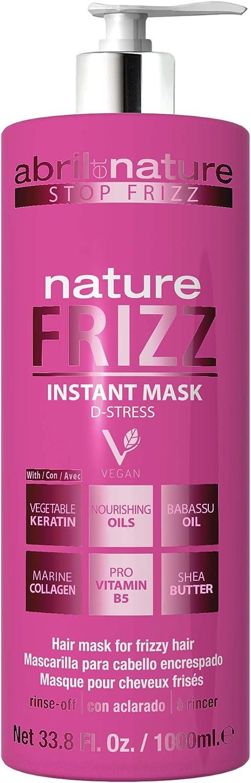 abril et nature   Mascarilla Capilar Anti Frizz NATURE FRIZZ   Mascarilla Profesional de Peluquería Antiencrespamiento   100% Vegano   Fácil peinado 1L