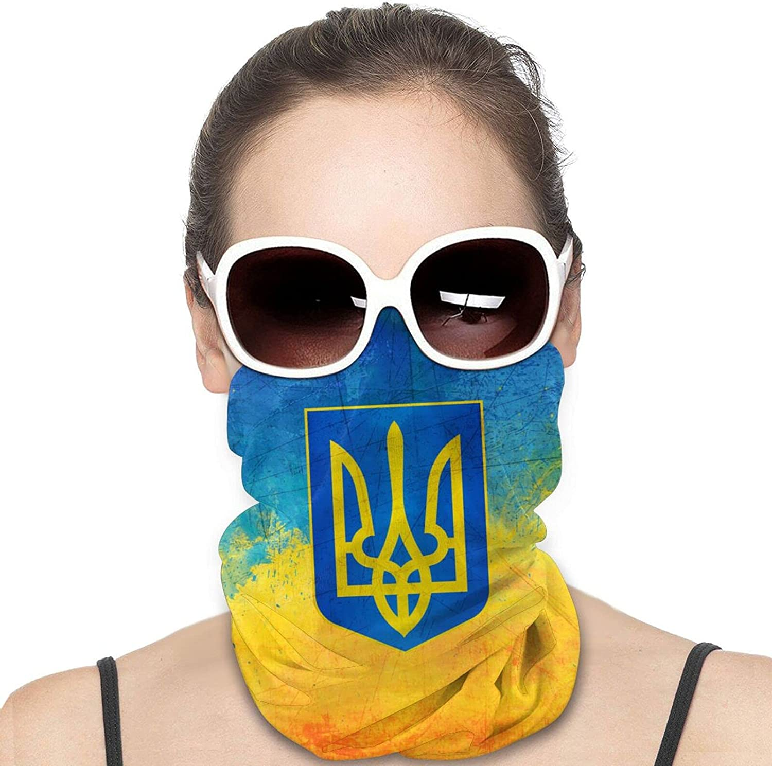 Flag of Ukraine Round Neck Gaiter Bandnas Face Cover Uv Protection Prevent bask in Ice Scarf Headbands Perfect for Motorcycle Cycling Running Festival Raves Outdoors