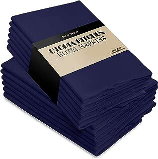 Utopia Kitchen Cloth Napkins, 12 Pack (18 x 18 Inches), Navy Dinner Napkins