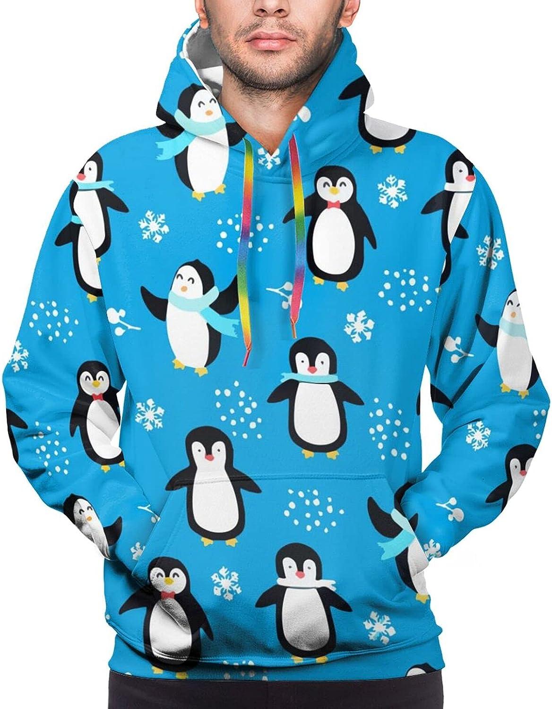 Hoodie For Men Women Unisex Penguin Winter Snow Pullover Hooded Sports Sweatshirt