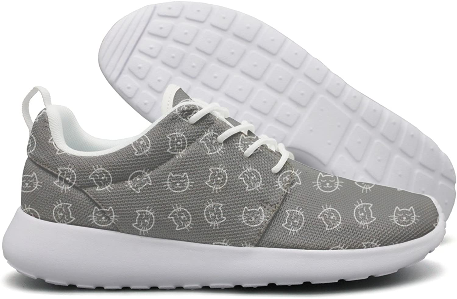 Hoohle Sports Cute White Cat Face Brown Background Women Roshe One Flex Mesh Lightweight Running shoes