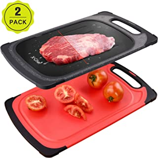 X-Chef Meat Thawing Tray 2 Sets, 2 in 1 Defrosting Cutting Board Defrosting Tray Plate for Kitchen Chopping Thawing Meat Chicken Fish Steak, 2 Side Use, 15.9x9.5inch, Red and Black