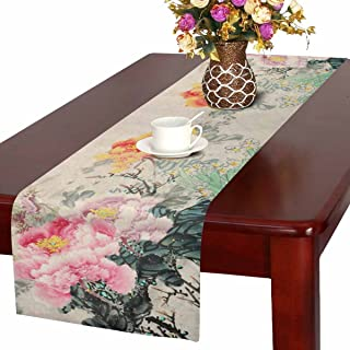 InterestPrint Peony Flowers Traditional Oriental Chinese Ink And Wash Painting Table Runner Linen & Cotton Cloth Placemat Home Decor for Wedding Banquet Decoration 16 x 72 Inches