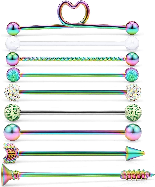 SCERRING 9PCS 14G Stainless Steel Industrial Barbell Cartilage Helix Conch Earring Body Piercing Jewelry 1 1/2Inch(38mm) Heart Arrow Screw Balls for Women Men