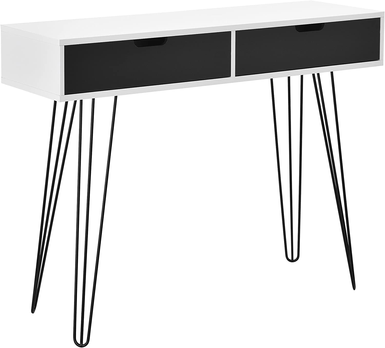 [en.casa] modern desk console table computer workstation white   MDF steel legs   100x33x76 cm
