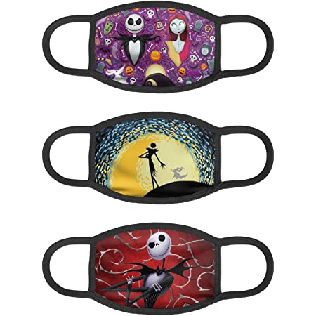 WINTERSUNNY Nightmare Before Christmas Mouth Cover Washable Reusable Breathable with 2 Filters Warm Dustproof Windproof Fabric Face Covering Men and Women Adjustable Ear Loops