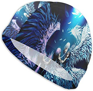 Smany Two Angels Love Anime Wallpaper Adult Swim Caps,High Elasticity, No Deformation Use,UV Protection, Waterproof Comfy Swimming Bathing Cap for Men and Women