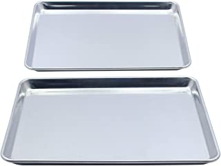 Checkered Chef Quarter Sheet Pan Twin Pack - 2 Small Baking Sheets 9 ½ x 13 Inches. Aluminum Rimmed Cookie 1/4 Sheet Pans ...