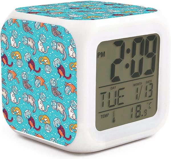 JWOJJUAW Wake Up Cat Travel Swim Dimmer Snooze LED Nightlight Bedroom Desk Travel Digital Loudest Alarm Clock For Kids Girls