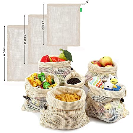 MUCO Paquete de 3 Bolsas de Compras Reutilizables Naturales Bolsa de Malla de algodón para supermercado