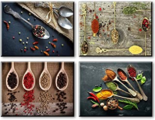 Piy 4X Painting HD Spice and Spoon Canvas Pintura de Pared de Arte Soporte Impresión en Madera Giclee Imagen de Foto Obra de Arte en Lienzo para decoración del hogar Comedor Cocina Restaurante