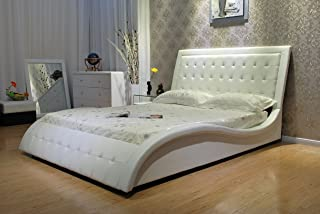 Greatime B1136-2 California King Size White Color Wave-Like Shape Faux Leather Platform Bed, with Euro Curved Slats