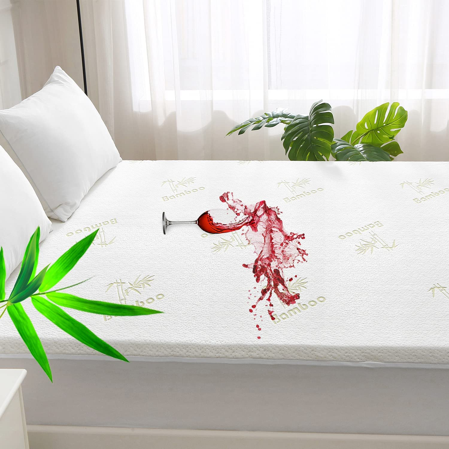Bedecor Max 84% OFF Bamboo Mattress Protector Waterproof Soft Special sale item Top Cooling Br