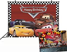 GYA Cartoon Racing Mobilization Birthday Themed Backdrops Racing Flag Black White Grid Red Photo Backgrounds for Photography Birthday Party Banner Photo Booth Props
