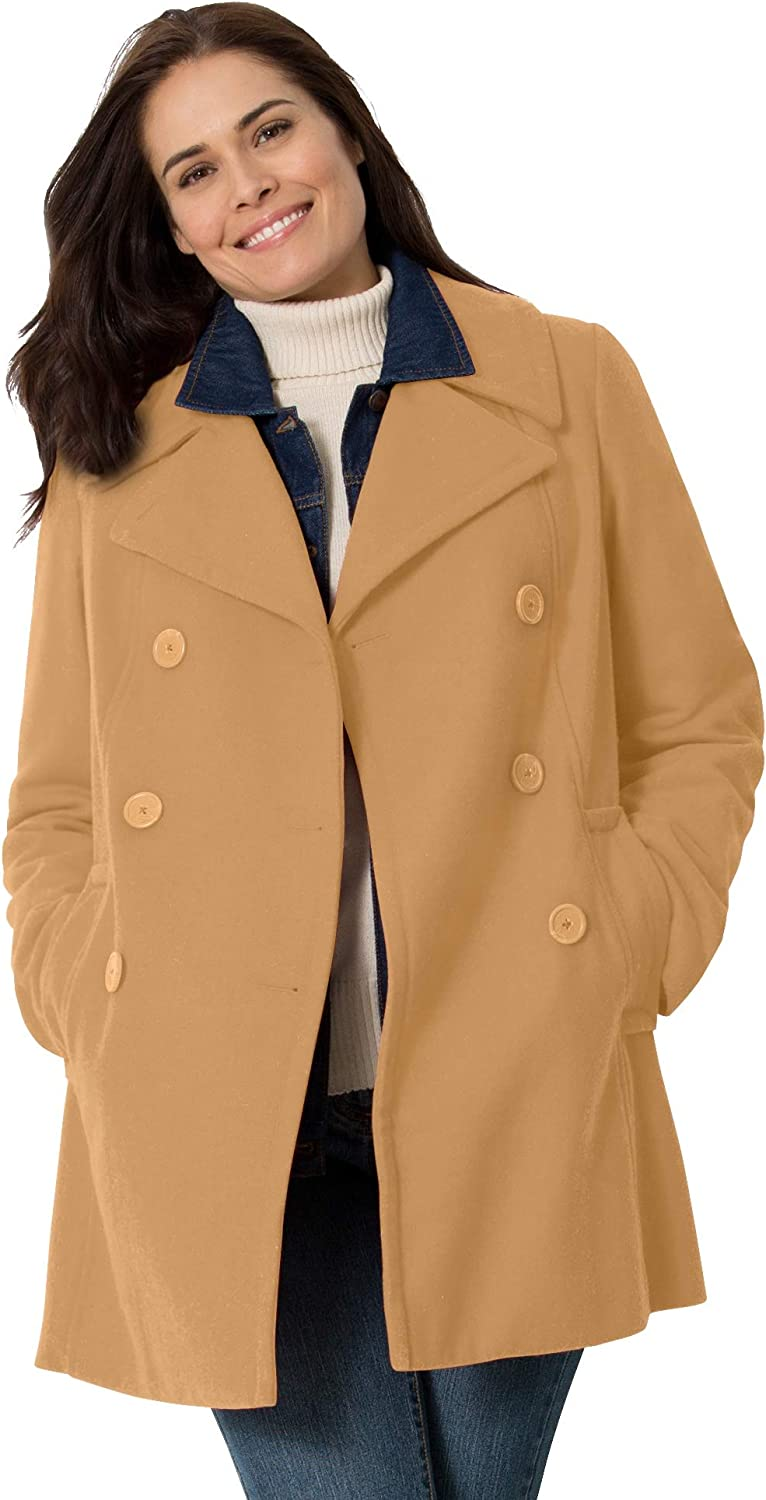Woman Within Women's Plus Size Wool-Blend Double-Breasted Peacoat