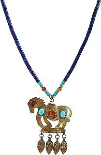 Mehrunnisa Afghani Lapiz Lazuli & Turquoise With Horse Pendant Necklace For Girls/Women (JWL1709)