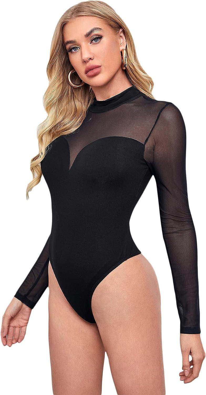 Verdusa Women's See Through Mesh Long Sleeve Mock Neck Skinny Leotard Bodysuit