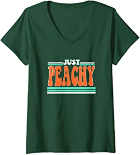 Womens Just Peachy Summer Vintage Retro 70s 80s Graphic Tee Gift V-Neck T-Shirt