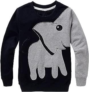 Toddler Boys Fleece Long Sleeve Sweatshirt Dinosaur Elephant Pullover T-Shirts Cartoon Tee Sport Tops for Kids 2-7 Years