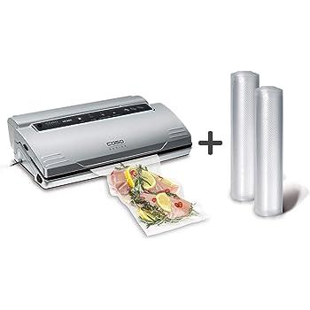 CASO VC200 Vakuumierer - Vakuumiergerät, Lebensmittel bleiben bis zu 8x länger frisch, doppelte Schweißnaht, inkl. Folienbox und Cutter, inkl. 2 Profi-Folienrollen & Schlauch für Vakuumbehälter