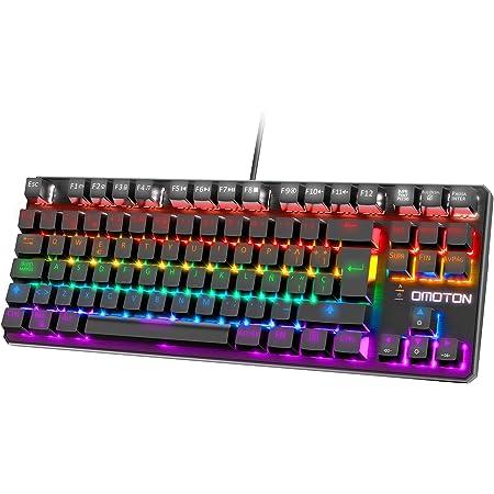 OMOTON Teclado Mecánico,Mini Gaming Teclado RGB-LED, Macro Personalizada-Pequeño Gaming Teclado Español con Azul Interruptor para ...