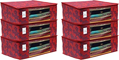 Kuber Industries Metalic Flower 6 Piece Non Woven Saree Cover Set, 7 inch, Red
