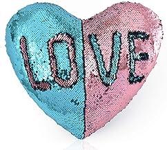 """وسادة من الترتر القابل للعكس للاريكة على شكل قلب مكتوب عليها كلمة """"لوف"""" من لونين"""