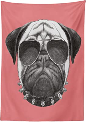 """Ambesonne Animal Tablecloth, Pink Backdropped Hand Drawn Pug Dog with Sunglasses and Colar Illustration, Dining Room Kitchen Rectangular Table Cover, 52"""" X 70"""", Coral and Grey"""