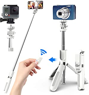 JPARR 自撮り棒 三脚一脚兼用 スマホ/カメラ/GoProなどに取り付け可能 7段階伸縮 360度回転可能 100cmまで伸びる リモコン遠隔操作 大人数でも撮れる(白)