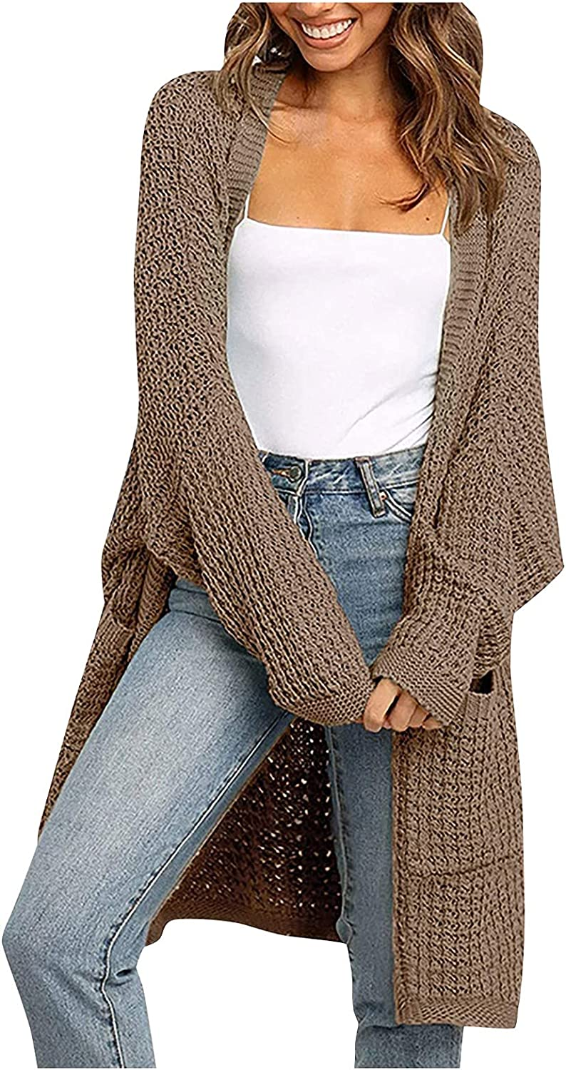 WUMAWEI Women's Casual Knitted Sweater Open Front Long Cardigan Long Sleeves Patchwork Sweater Outwear Coats with Pockets