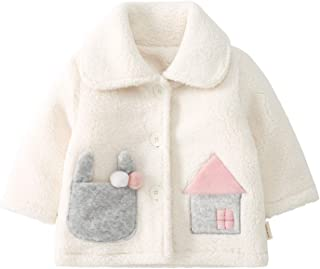 pureborn Toddler Baby Girl Collar Plush Quilted Button Down Winter Jacket Coat