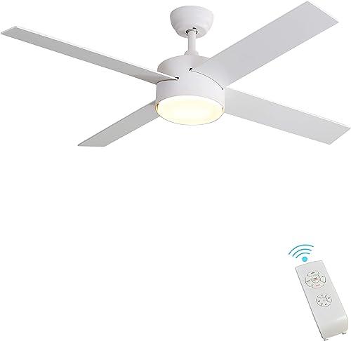 lowest Indoor Ceiling Fan Light Fixtures - FINXIN Remote lowest LED 52 White Ceiling sale Fans For Bedroom,Living Room,Dining Room Including Motor,4-Blades,Remote Switch outlet online sale