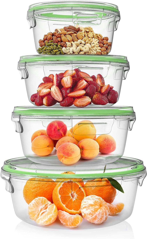 Home Fleek - Envases de Vidrio Circular para Alimentos | Herméticos | Sin BPA (Verde, Set 4)