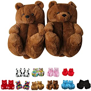 Unisex  Boys Girls Little House shoes Bear Head Accents Vintage Fuzzy Bears Slip On Baby Slippers Cream White Tone Faux Fur