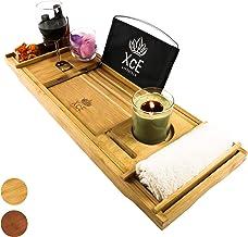 XcE Bathtub Caddy Tray - Bamboo Wood Bath Tray and Bath Cadd