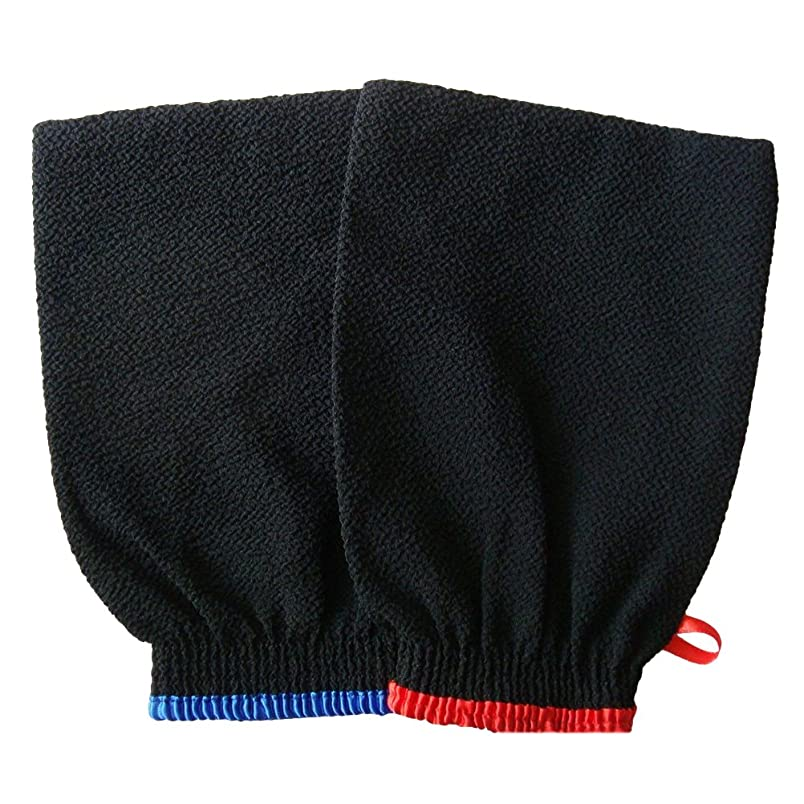 特別な商業の調整ROSENICE エクスフォリエイティングバス手袋シャワー浴室スキンフェイスボディウォッシュマッサージミット男性女性2PCS(ランダムエッジカラー)
