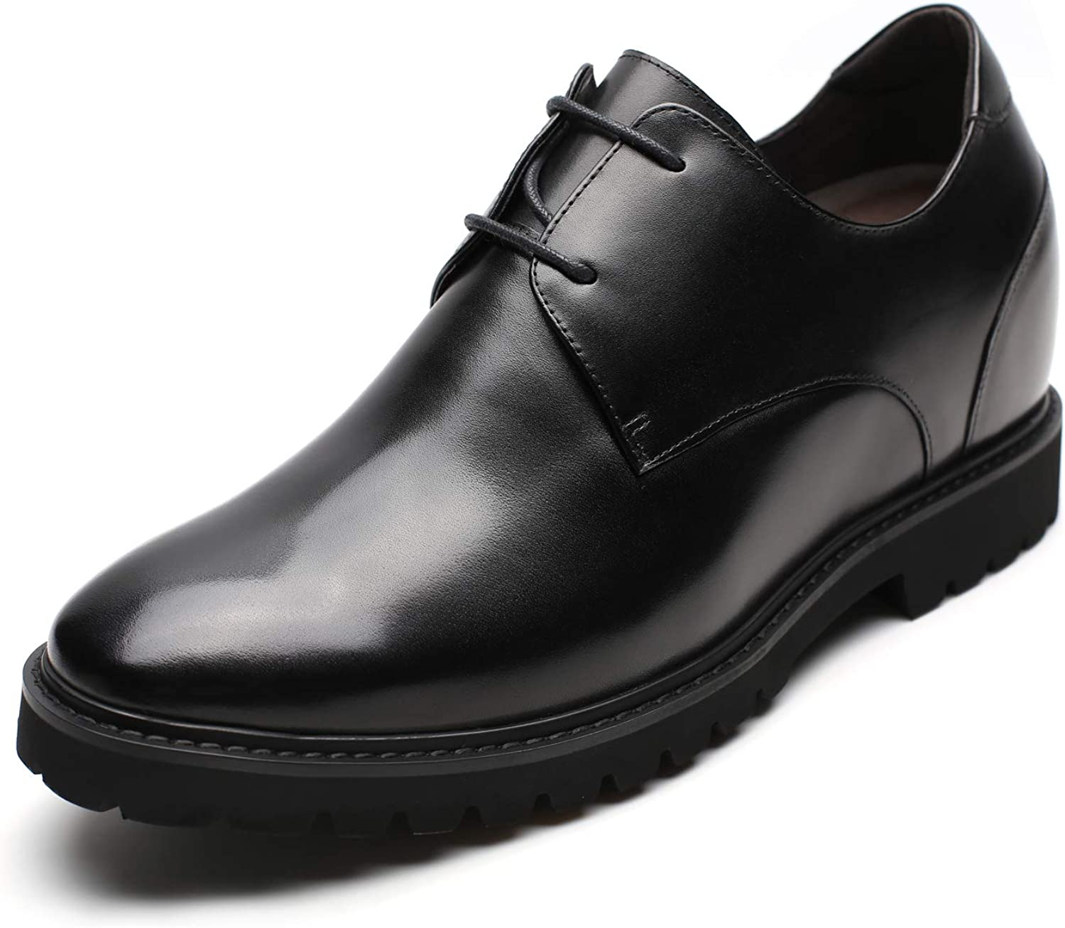 CHAMARIPA Men's Height Increasing Elevator Shoes 3.54 Inches Taller Leather Dress Shoes Invisible Elevated Oxfords H91X71D071D