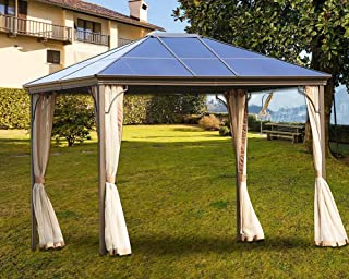 Patio Metal Hardtop Gazebo 10x 12 with Mosquito Netting (Beige), Bruce Furniture Rust Proof Aluminum Outdoor Gazebo Fit for Lawn Garden & Front Porch