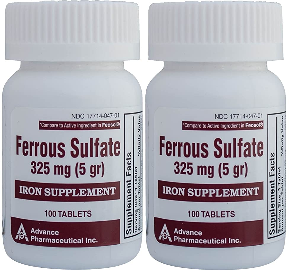 Ferrous Sulfate Iron Supplement 325 mg (5GR) Generic for Feosol Red Tablets 100 Tablets per Bottle Total 200 tablets by ADVANCE PHARMACEUTICAL