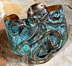 Elaine Coyne Wearable Art Patina Sculptural Octopus Tapered Cuff Bracelet
