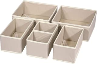 DIOMMELL 6 Pack Foldable Cloth Storage Box Closet Dresser Drawer Organizer Fabric Baskets Bins Containers Divider with Drawers for Clothes, Underwear, Bras, Socks, Lingerie, Clothing