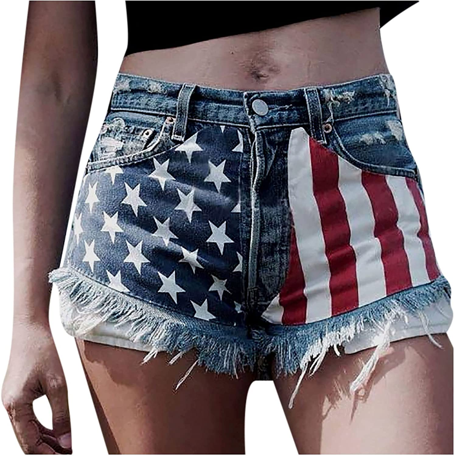 HGps8w Women's Summer Frayed Raw Hem American Flag 4th of July Casual Denim Shorts Ripped Short Jeans with Pockets