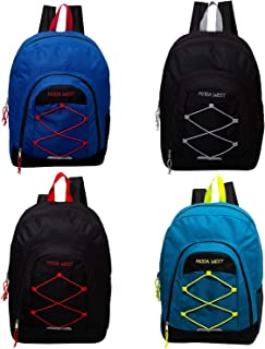17 Inch Bulk Premium Bungee Sport Backpack in 4 Assorted Colors - Wholesale Case of 24 Bookbags