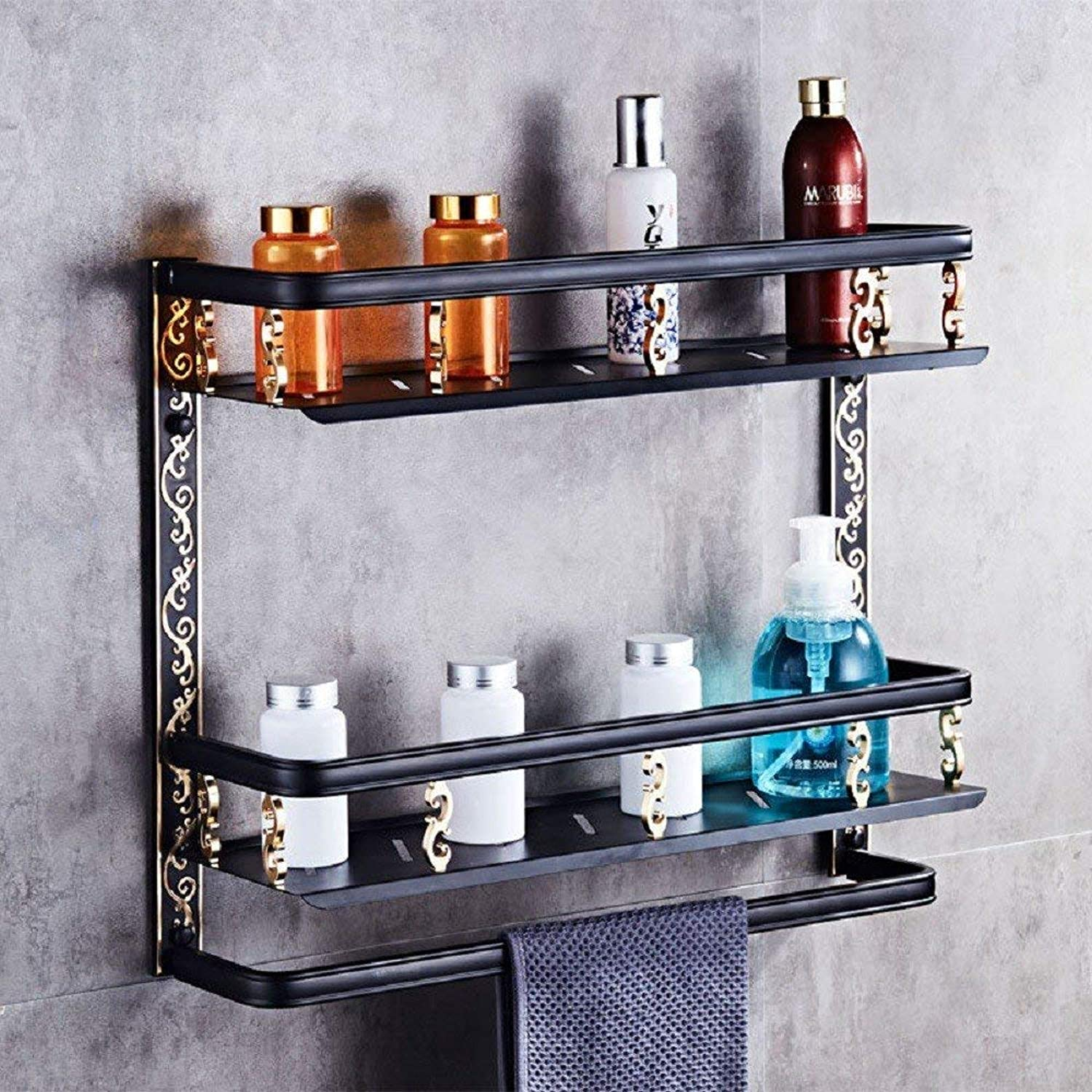 Towel Rack Space Aluminum Pendant Antique Double Layer Stacks, American Space Aluminum Hardware Multi-Functional Bathroom Towel Rack,Double-Deck Bathroom Towel Shelf (color   Monolayer)