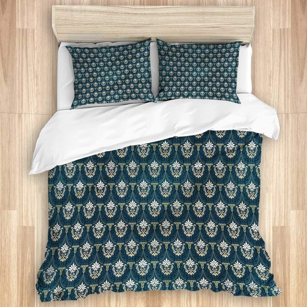 LONSANT We OFFer at New York Mall cheap prices Washed Duvet Cover Set Pieces Foliage Motif 3 Victorian