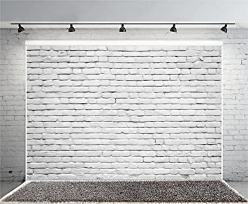 Yeele 10x8ft Retro White Brick Wall Backdrop Vinyl Fabric Vintage Paint Coating Wall Photography Background Party Booth Banner Newborn Adult Portrait Wallpaper Photo Video Shooting Studio Props Camera