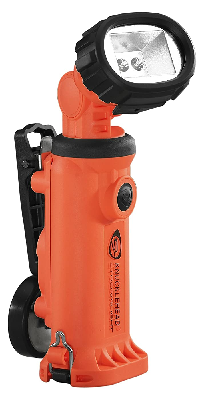 Streamlight 90657 Knucklehead Articulating Head Rechargeable LED Work Light with Clip 120-Volt AC/12-Volt DC Steady Charger, Orange - 200 Lumens